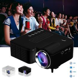 Mini conector hdmi online-Venta al por mayor- Proyector portátil de cine en casa con sistema de cine en casa y multimedia Mini HD LED con AV HDMI + Remoto EU Plug White