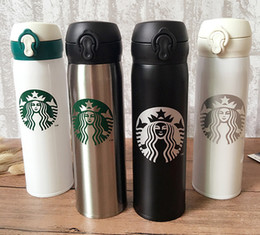 Wholesale flask coffee - 6 different Colors Starbucks Thermos CUP Vacuum Flasks Thermos Stainless Steel Insulated Thermos Cup Coffee Mug Travel Drink Bottle