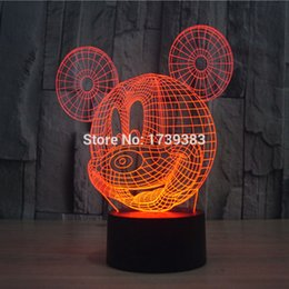 Wholesale Glow Desk - Wholesale- Glowing 7 Color Changing Cartoon Mickey Mouse 3D Acrylic LED Night Light USB LED Decorative Table Lamp Baby Desk Lighting