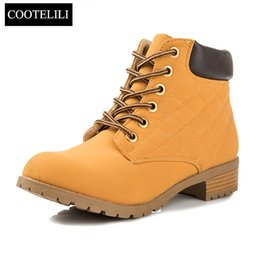 Wholesale Women Oxford Shoes Fashion Brand - Wholesale-Brand Fashion Women Ankle Boots Heels Lace up Casual Shoes Woman Oxfords Black Yellow Tooling Boots Leather Plus Size 40 41 42