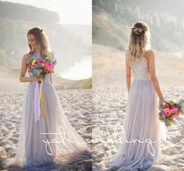 Wholesale Lavender Beach Dresses - 2018 Newest Beach Bridesmaid Dresses Jewel Sequins Tulle Silver Bohemian Wedding Dresses Flowy Maid Of Honor Long Bridesmaid Gowns