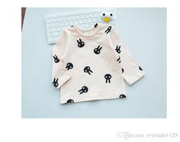 Wholesale Korea Girls Style - 2017 Korea Ins style Girls Kids Long Sleeve round collar rabbit print all match t shirt baby kid cool casual comfortable t shirt 0-2T