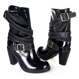 Wholesale Thick Sole High Heel Boots - Candy Color The Real Thing High Sale Women Shoes Comfortable Waterproof Thick Heels Flange Sole Belt Buckle Slip-On Boots