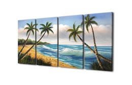 Wholesale Hand Made Landscape - 4 Panel Framed Canvas Art Painting 100% Hand Made Seascape Oil Painting Beautiful Beach Living Room Wall Decoration 12inx24inx4pc