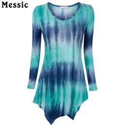 Wholesale Applique Handkerchief - Wholesale- Messic Handkerchief Hem Line Women Long Sleeve Shirts Tie-Dye Knitting Long Tunic Tops For Women Striped Shirt T15T02