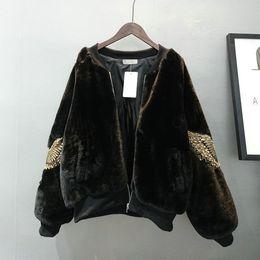 Wholesale Embroidery Velvet Coat - 2017 new women's retro fashion thickening eagle embroidery beading paillette faux fur velvet short parkas jacket coat casacos