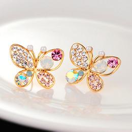 Wholesale Fancy Earrings Wholesale - Colorful crytstal rhinestone Pearl butterfly pierced earrings fancy Crystal earrings stud temperament wholesale free shipping