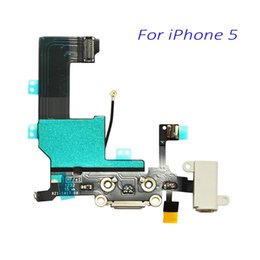 Wholesale Iphone Headphone Plugs - New Original Dock Connector USB Charging Port For iPhone 5 5G With Headphone Jack Tail Plug Flex Cable White Black For iPhone5