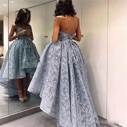 Wholesale Fuchsia Puffy Cocktail Dresses - African High Low Lace Prom Dresses 2017 Sweetheart Backless Sexy Back Puffy Formal Cocktail Party Dress Personalized Evening Gowns Cheap