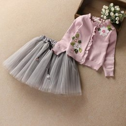 Wholesale Girl Children Princess Coat - Retail Autumn Girls Clothing Sets Embroidery Long Sleeve Cardigan Coat+Gauze Skirt Princess Outfits Children Clothing 3-9T E17251