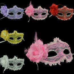Wholesale Horror Makeup - Lace Feather Masks Christmas Halloween Makeup Dance Masks Venetian Princess Mask G452