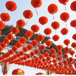 Rote plastiklaternen online-15 ~ 40 CM Rot Glänzende festival festival Kunststoff Papierlaterne für Hochzeit Neue Haus Dekorationen