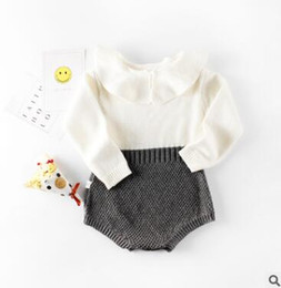 Wholesale Winter Down Baby Jumpsuits - Knitted Baby Romper FALL Winter Ins Clothes Patchwork Jumpsuits Romper Jumpsuit Baby Onesies Unisex Jumpsuit Toddler Infant Outwear Bodysuit