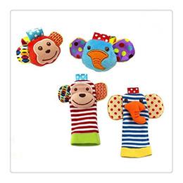 Wholesale Springs For Toys - Boby Clothing Animal Socks Baby Wrist Rattles Foot Finder Baby Toys Socks Set Developmental Soft Toys Monkey and Elephant For Baby Socks