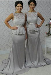 Wholesale Elastic Belts For Dresses - Lace Mermaid Bridesmaid Dresses for Wedding Party Girls Cheap Sexy Sweetheart Floor Length Belts Cheap Formal Gowns 2017