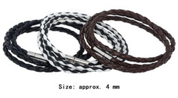 Charme-Armband-Frauen-Mann-Schwarz-Weiß-verflochtene Stulpe-Armband-Armband-magnetische lederne Armband-Halskette Doppelt-verwenden Schmuck 3Color freies DHL von Fabrikanten