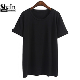Wholesale Cheap Basic Tops - Wholesale-SheIn Women Loose Plain Tees Solid Summer Short Sleeve Tops Round Neck Basic Cheap Simple Summer Style T-Shirt