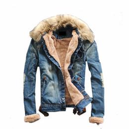 Wholesale Fur Slim Fit Jacket Men - Wholesale- Luxury ,Man Casual Slim Fit Denim Jeans Men Winter Denim Jacket Men Clothing Jean Coat outwear Fur Collar men's coat jackets