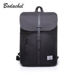 Wholesale Designed Notebooks - Wholesale- Bodachel 2017 new style women backpack simple design 14'' notebook backpacks waterproof canvas bucket backpack sac a dos rugzak