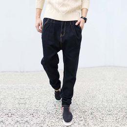 Wholesale Mens Harem Tapered - Wholesale-Elastic Harem Baggy Jeans Mens Denim Joggers Pants Stretch Tapered Pants Soft Cotton Trousers Plus Size M-6XL