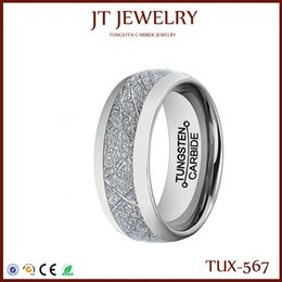 Wholesale Vintage Comfort - Free Shipping Men 8mm Silver Tungsten Carbide Ring Vintage Meteorites Pattern Wedding Engagement Band Domed Comfort Fit