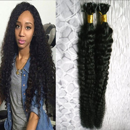 Wholesale U Tip Hair Extensions 22 - Peruvian virgin hair kinky curly Pre Bonded fusion human hair u tip 100g 1g strand 100s keratin stick tip human hair extensions Jet Black