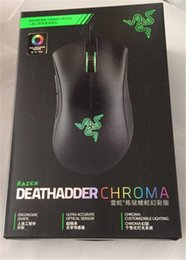 Wholesale Sensor Optical - Razer Deathadder Chroma USB Wired Optical Computer Gaming Mouse 10000dpi Optical Sensor Mouse Razer Mouse Deathadder Gaming Mice free DHL