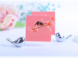 Wholesale Wholesale Cards Birds - Love birds place card holder New design bird silver cute small name table card holder Wedding favor
