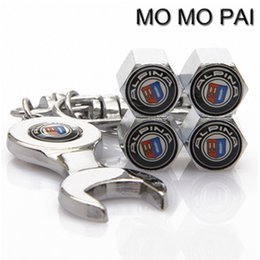 Wholesale Tire Valve Wrench - HOT Car styling 4PCS car wheel tire valve stem air caps with EMBLEM WRENCH FIT FOR DUCATI FORD HAMANN LOTUS MINI BENTLEY BMW