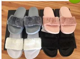 Wholesale Plush Slippers - Leadcat Fenty Rihanna Shoes Women Fenty Rihanna Bandana Slide Women Slippers Fenty Bow Slide Indoor Sandals Women slide