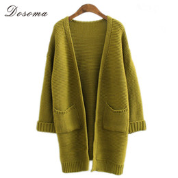 Wholesale Korean Winter Fashion Design - Wholesale- Women Cardigan 2016 Autumn Winter Thicken Sweater Batwing Sleeve Knitting Sweaters Long Design Loose Casual Fashion Korean Style