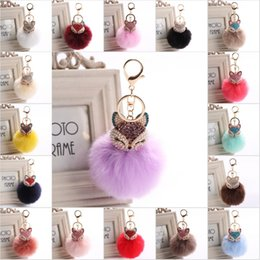 Wholesale Green Pearl Rings - 20 Color Cute Bling Rhinestone Fox Real Rabbit Fur Ball Fluffy Keychain Car Key Chain Ring Pendant For Bag Charm Hotsale C150Q