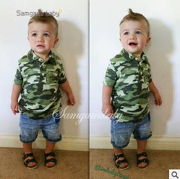 Wholesale Kid Girls Camouflage Shorts - Boys Summer Outfits Set Ins Clothes 2-7Y Boys Cotton Camouflage Tops Denim Shorts Pants Toddler Kids Clothing Boys Casual Boutique Clothing