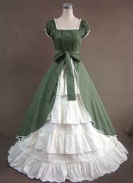Wholesale Gothic Mini Dresses - Fashion Printed Poplin Dress Cosplay Ball Gown U Collar Pleated Summer Prom Short Sleeved Gothic Lolita Ball Dress 2017 Real Photo