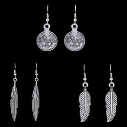Wholesale Leaf Pendant Silver Earrings - Hot Retro Bohemian Boho Womens Antique Silver Simple Leaf Charm Hook Dangle Earrings Tribal Gypsy Coin Pendant Drop Earrings