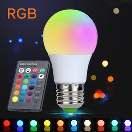 Wholesale Energy Saving Ir - NEW E27 3W RGB LED Lamp Lampara LED RGB Bulb 110V 220V 230V High Power LED Light Lamp Energy Saving With 24key IR Remote