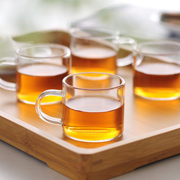 Wholesale Wholesale Glass Tea Set - 6PCS box Kung Fu Cup Glass tea cup High-temperature Transparent Glass Small cup 100ml Water tea cups Free Shipping