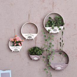 Wholesale Decorative Hang Wall - Free Shipping Flower Pots wooden Hanging Flower Pots,Balcony Garden Pots, Wall Planters Bucket Flower Holders Western old style