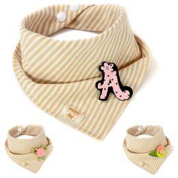 Wholesale wholesale aprons for kids - Baby Bibs Feeding Cotton Stripe Print Burp Cloths Pattern Bandana for Babies Towels Infant Kids Apron Beige New