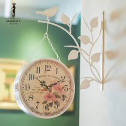 Wholesale Hanging Wall Bracket - Wholesale- Modern Brief Side Hanging Double Side Wall Clock Bird Natural Bracket Flower Clock Face Retro Vintage Watch relogio parede Decor