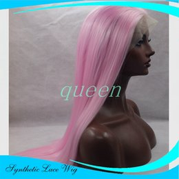 Wholesale Wig Dark Pink Long - long synthetic hair 26 inch PINK Blonde Ombre Synthetic Lace Front Wig Heat Resistant Long Wavy Hair For Women Peruca Feminina