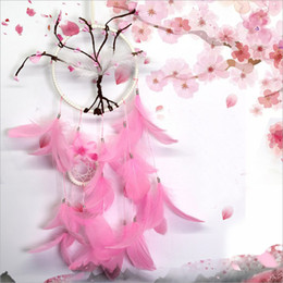 Wholesale Pink Flower Dreamcatcher Gift Peach Blossom Handmade Dream Catcher Net With Feathers Wall Hanging Decoration Ornament