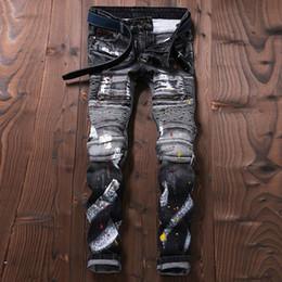 Wholesale Designer Stylish Jeans - Wholesale- European Stylish Designer Men Jeans Punk Streetwear Colorful Paint Pants Skinny Fit Spliced Jeans Men Gray Color Biker Jeans