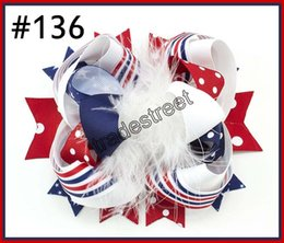 Wholesale 4th July Wholesale - free shipping 30pcs Newest 4th of july hair bows Fashioin girl headband boutique hair bows