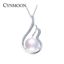 Wholesale Freshwater Pearl Necklace Designs - Natural Freshwater Cultured 9-10mm AAAA Quality Pearl Pendant Necklace for Women 925 Sterling Silver Wing Design Pearl Jewelry