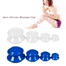 Wholesale Body Cupping Massage - 4Pcs set Moisture Absorber Anti Cellulite Vacuum Cupping Cup Silicone Family Facial Body Massage Therapy Cupping Cup Set 4 Size