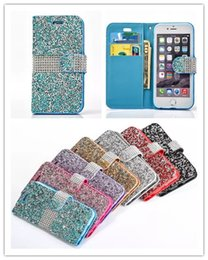 Wholesale Diamond Case Lg - For iPhone 7 Galaxy ON5 Wallet Diamond Case iPhone 6s Plus Case LG K7 Stylo Bling Bling Case Crystal PU Leather Card Slot