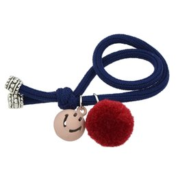 Wholesale Rubber Band Hair Designs - New Fashion Hair Jewelry Smiling Face and Big Pompon Charms Design Rope Hair Bands for Women