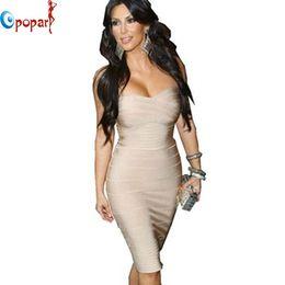 Wholesale Kim Kardashian Bandage - Wholesale- kim kardashian dress women strapless celebrity HL bandage dress 2016 womens sexy party night club mini bodycon short dress HL321