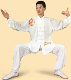 Wholesale Women Tai Chi Uniform - broider dragon tai chi male martial arts practice uniforms women tai chi clothing morning exercise suit